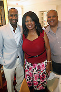 24 June 2010- Miami Beach, Florida- l to r: Jeff Friday, Clare Williams and Steve Williams at the The 2010 American Black Film Festival Founder's Brunch held at Emeril's on June 24, 2010. Photo Credit: Terrence Jennings/Sipa