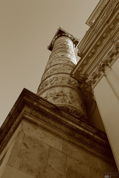 Looking up at one of the ornate pillars of Karlskirche, Vienna