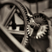 Rusted Gears - Motor Transport Museum - Campo, CA  - Lensbaby - Sepia Black & White