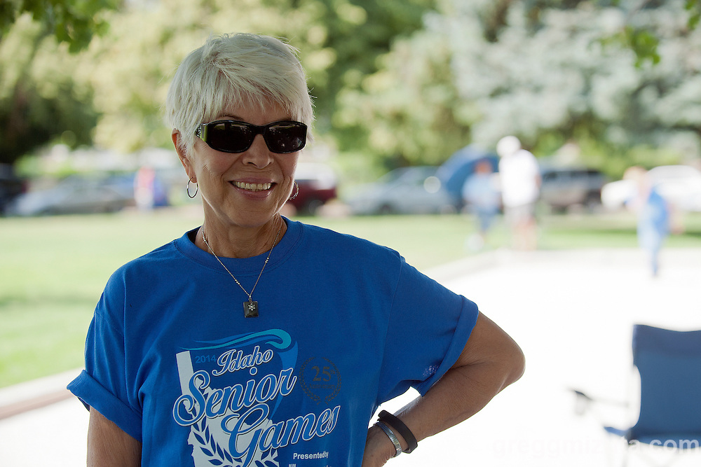 Harriet Almerico competes in the Idaho Senior Games at Ann Morrison Park in Boise, Idaho on August 16, 2014.