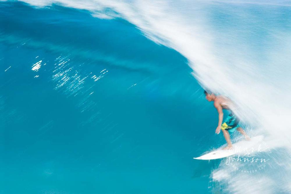 Surfing at Backdoor Pipeline, North Shore, Oahu, Hawaii