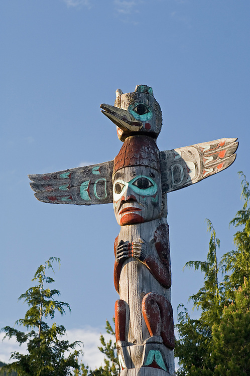 Tlingit totem pole at Saxman Totem Park, Ketchikan, Alaska.