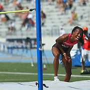 BARRETT - 13USA, Des Moines, Ia. -B rigetta Barrett was ecstatic with her personal best performance in the high jump.  Photo by David Peterson
