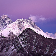 Three 8 Thousand Meter Peaks- Everest, Lhotse and Makalu, just after sunset as seen from Gokyo Peak, Khumbu Himal, Nepal