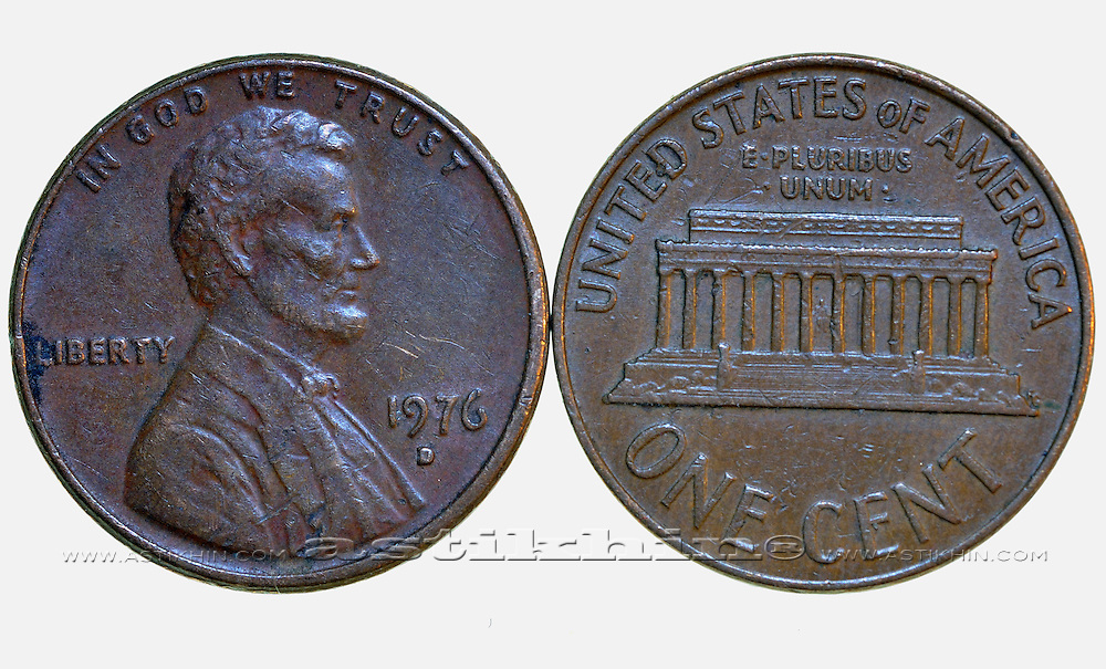 United States one-cent coin.