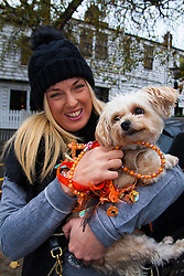 Hampstead Heath, London, October 26th 2014. Dogs rescue and re-homing charity All Dogs Matter hold their annual Halloween fancy dress dog walk on Hampstead heath. PICTURED: Zoe with Poppy the Yorkie-poo.