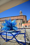 """Comet Glass Star"" sculpture made for Christmas 2007 by Master glass maker Simone Cenedese, displayed at Campo Santo Stefano, Murano, Venice, Italy"