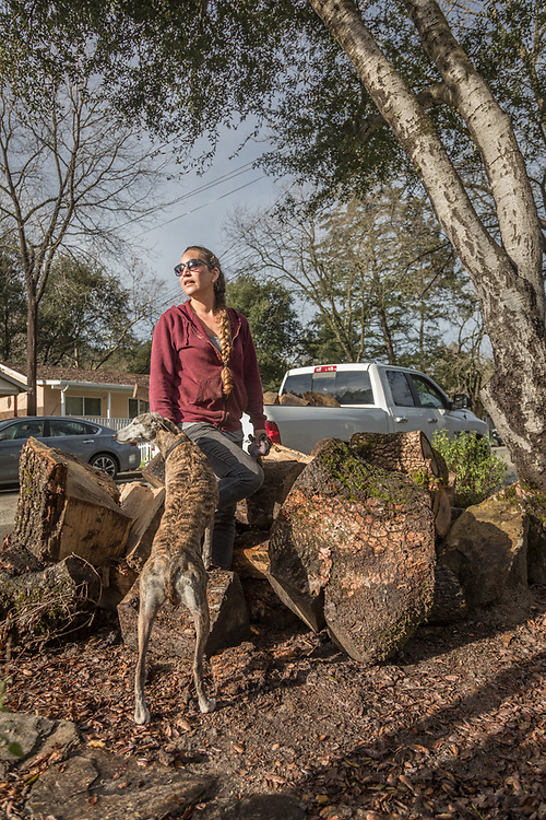 Middletown resident and 22 year employee at the Sarafornia Cafe in Calistoga, Paula Chaves catches her breath with her rescue whipett while gathering firewood from downed trees on Myrtle Street.