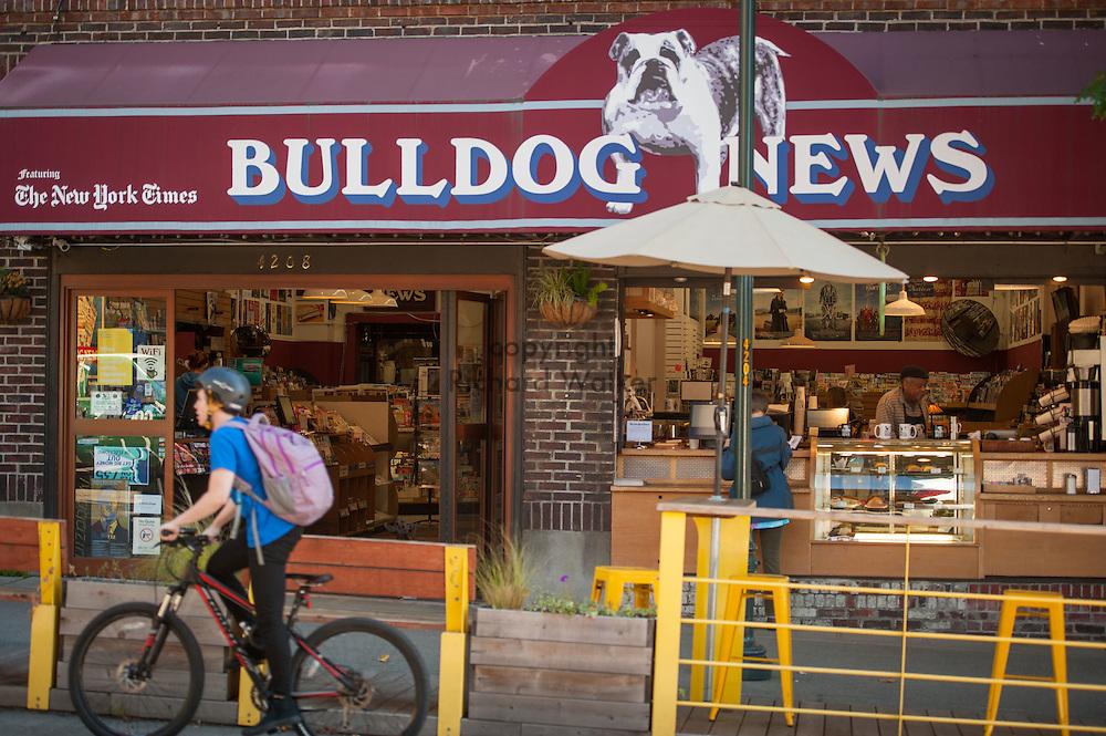 2016 October 11 - Bulldog News exterior, University District, Seattle, WA, USA. By Richard Walker