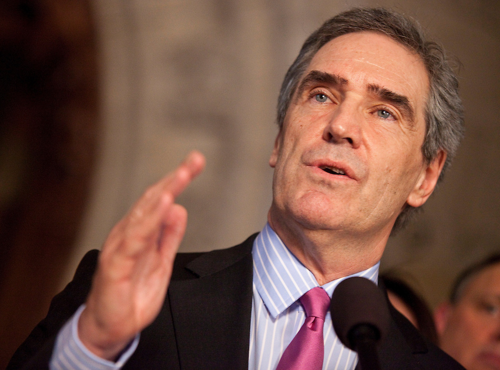 Liberal leader Michael Ignatieff speaks to the media at a press conference in the foyer of the House of Commons in Ottawa, Canada following the fall of the Conservative government in a non confidence vote March 25, 2011. Canadians will be heading to the polls in May<br /> AFP/GEOFF ROBINS/STR