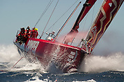 Camper With Emirates Team New Zealand finish leg one of the Volvo Ocean Race in Capetown second behind Telefonica. 27/11/2011