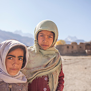 Two young Muslim girls pose together in the Suru Valley, Kargil District, Ladakh.