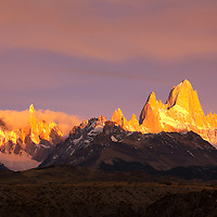The early light makes the peaks of Patagonia glow