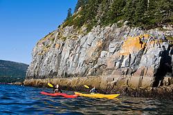 A man and woman sea kayaking near Bald Porcupine Island in Maine's Acadia National Park.  Bar Harbor.