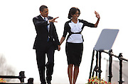 U.S. President Barack Obama and  First Lady Michelle Obama prior to delivering a speech near Prague Castle in Prague, Czech Republic in  Strasbourg, France on 2009-04-05   Earlier in the day North Korea fired a rocket over Japan, defying Washington, Tokyo and other world leaders who suspect the launch was cover for a test of its long-range missile technology. U.S. President Barack Obama warned the move would further isolate the communist nation. © by Wiktor Dabkowski .POLAND OUT