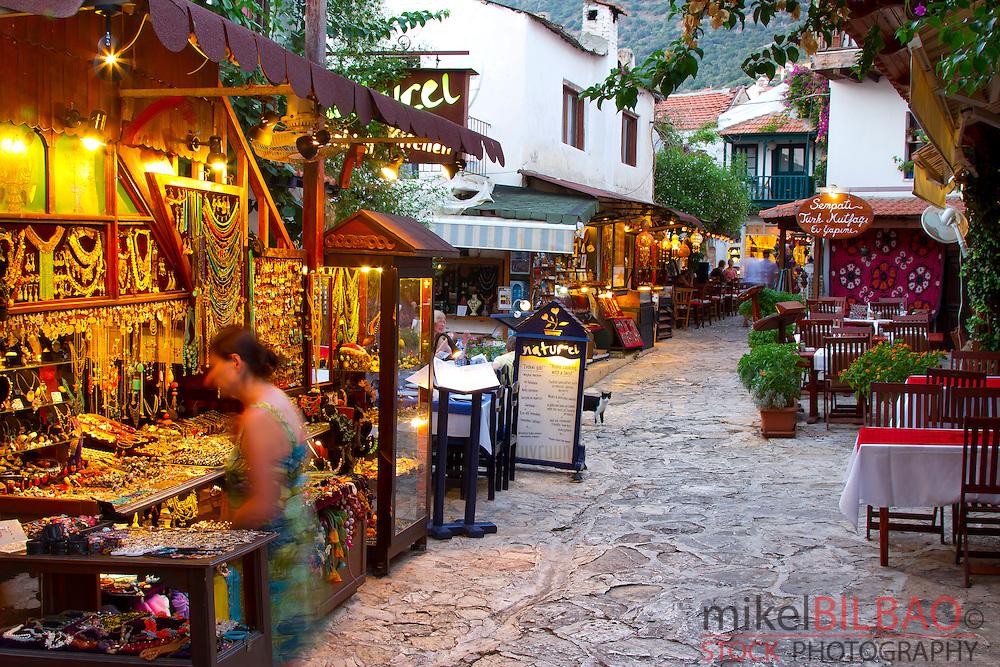 Street view and gift shops. Kas. Antalya province, mediterranean coast. Turkey.