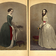 """1851 Fashions from Godey's Ladies Book 1851 """"The dress maker and the dress wearer"""""""