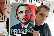 Shepard Fairey, contemporary artist, graphic designer, and illustrator  of Obey Giant fame, in his Los Angeles Studio with an iconic President Obama image he created for the 2008 presidential campaign