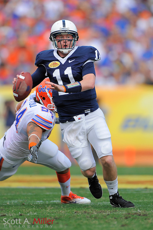 Penn State Nittany Lions quarterback Matthew McGloin (11) during his teams 37-24 loss to the Florida Gators in the 2011 Outback Bowl at Raymond James Stadium on Jan. 1, 2011 in Tampa, Florida. .©2010 Scott A. Miller