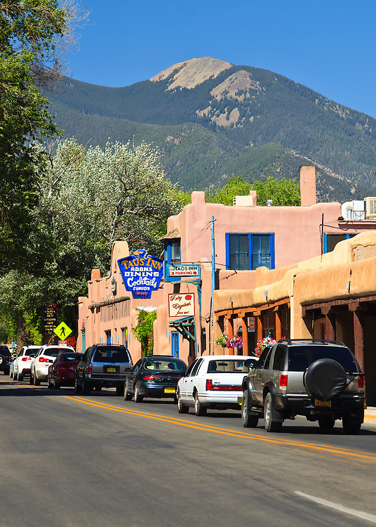 The historic Taos Inn and Taos Mountain.