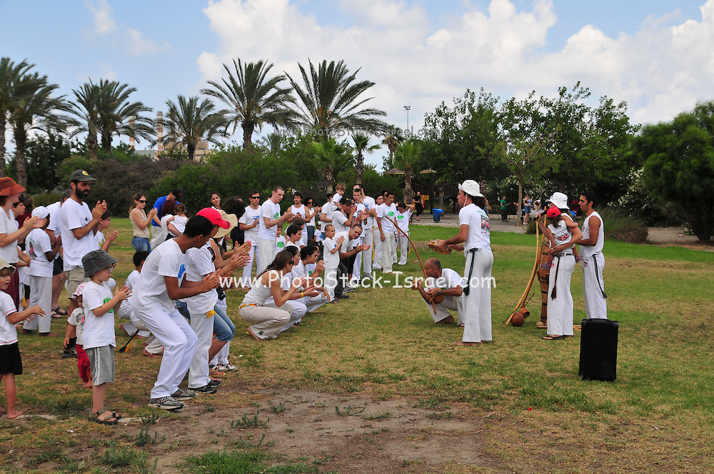 Israel, Haifa, The Kishon Park on the banks of the Kishon river. Outdoor Capoeira practice
