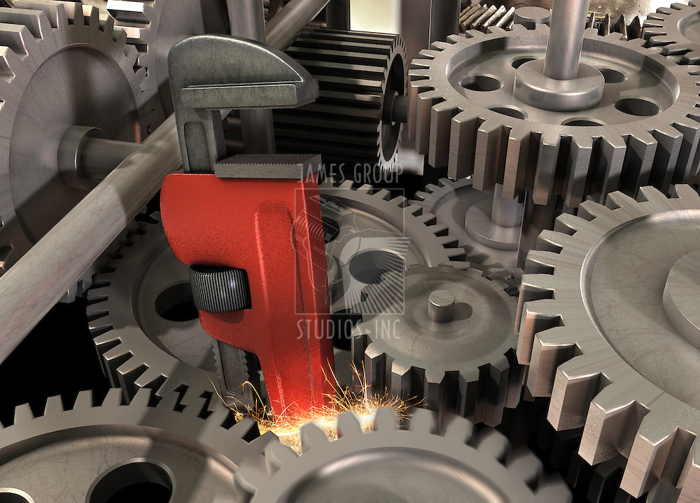 Pipe wrench caught in a gear assembly creating sparks