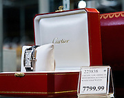 Cartier watch, sold by Costco Wholesale.  Photographed by Brian Smale in Seattle, for BusinessWeek Magazine.