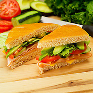 Avocado turkey sandwich on foccacia bread