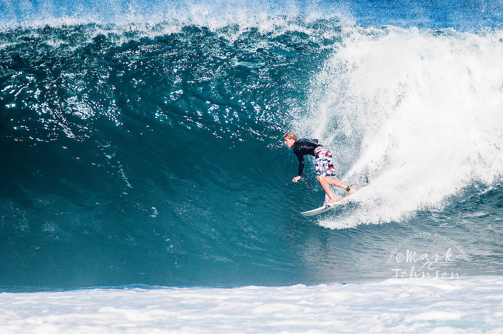 John John Florence surfing at Backdoor Pipeline, North Shore, Oahu, Hawaii