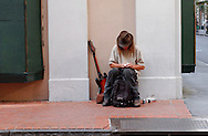 Street musician in the French Quarter of New Orleans, LA on Wednesday, June 28, 2006. Hurricane Katrina struck the Gulf Coast ten months ago, devastating parts of Louisiana and adjoining states Mississippi, Texas and Alabama.