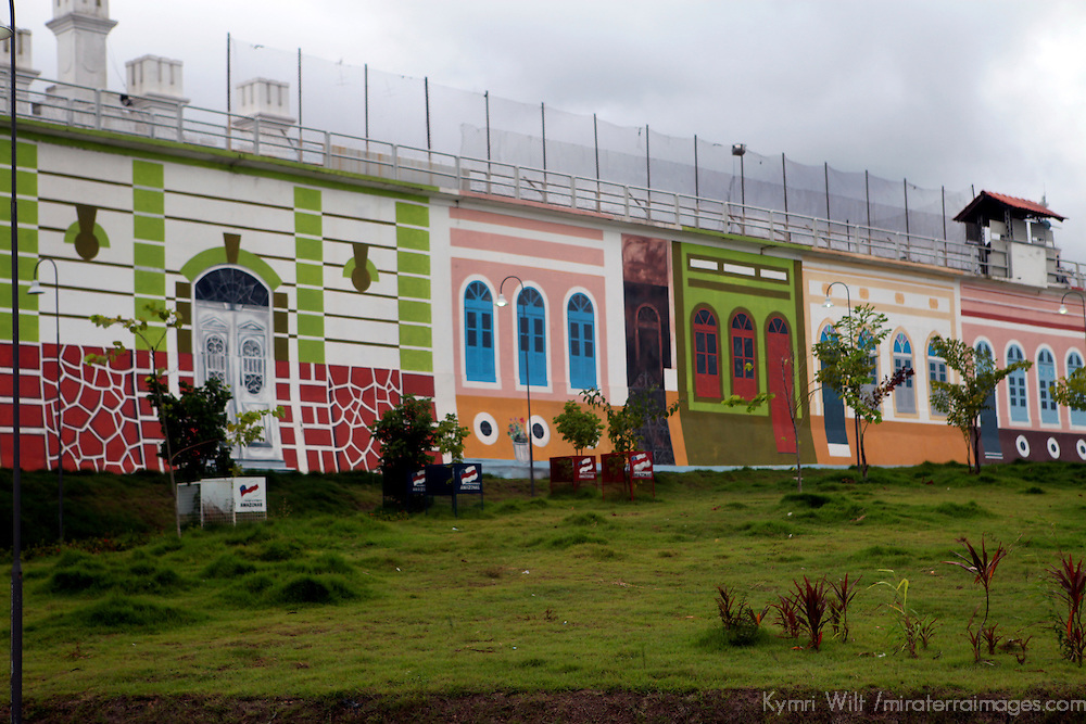 South America, Brazil, Manaus. Mural wall of prison in Manaus.