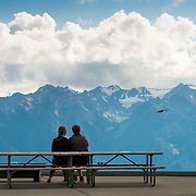 The view from Hurricane Ridge looking south towards the main peaks and glaciers. Olympic National Park.