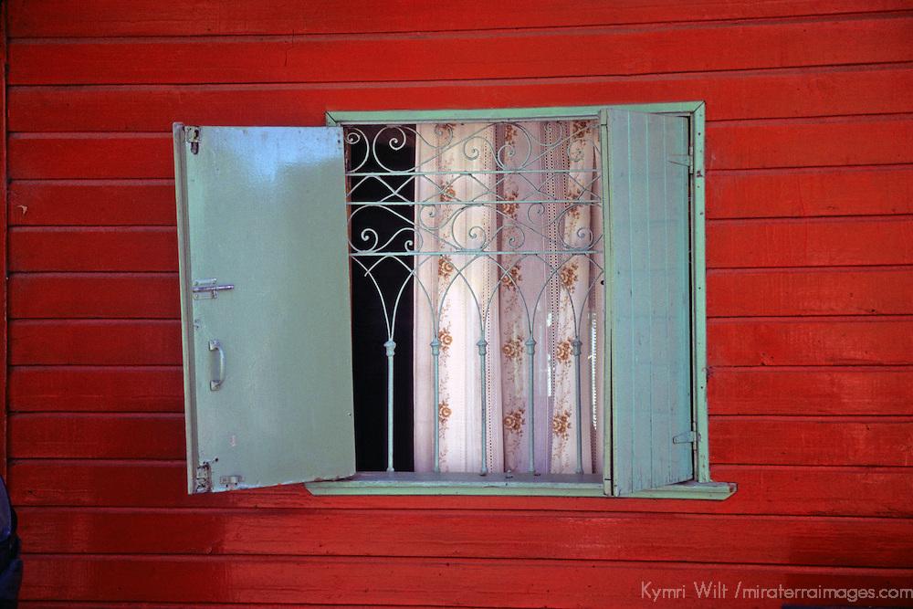 South America, Americas, Latin America, Buenos Aires, La Boca. Colorful window of La Boca neighborhood or barrio of Buenos Aires.