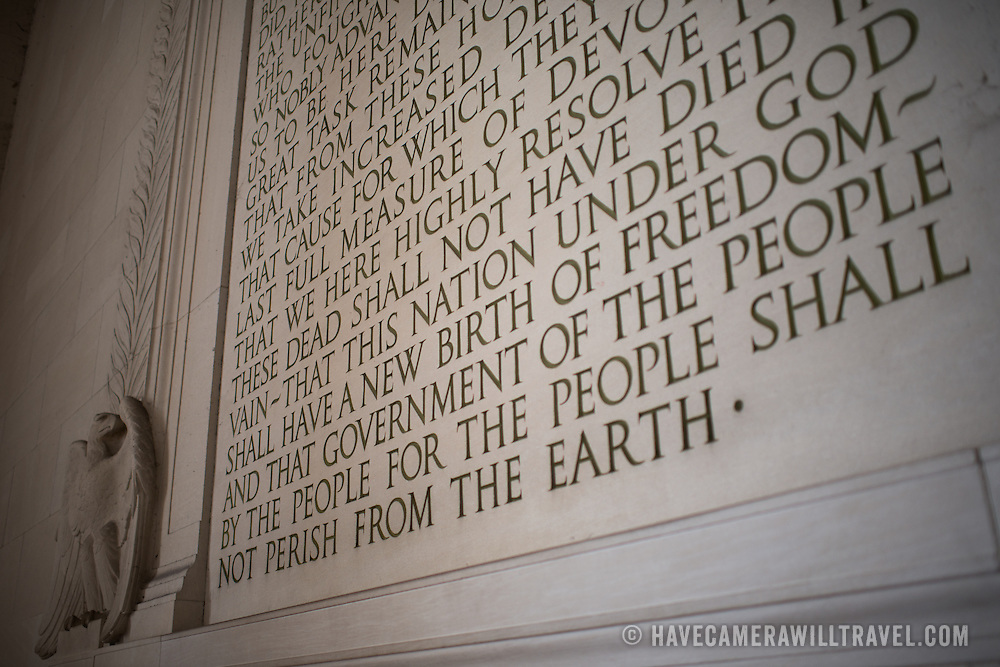 The text of the Gettysburg Address etched into the southern wall inside the Lincoln Memorial in Washington DC.