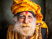 07 MARCH 2017 - KATHMANDU, NEPAL: A Hindu holy man at in a village near Pashupatinath, the oldest Hindu temple in Kathmandu.     PHOTO BY JACK KURTZ