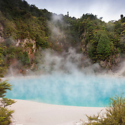 Steam rises from the water-filled Inferno Crater, located in the Waimangu Volcanic Rift Valley near Rotorua, New Zealand. The terrace is part of a hydrothermal system in 1886 by the volcanic eruption of Mount Tarawera. Waimangu means 'black water' in Māori, the indigenous language of New Zealand. The area was given that name because its largest geyser erupted water that was filled with mud and rocks.