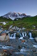 Edith Creek flows from Mount Rainier through a large meadow above Paradise in Mount Rainier National Park, Washington.