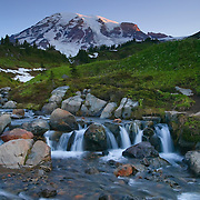 Edith Creek flows from Mount Rainier through a large meadow above Paradise in Mount Rainier National Park, Washington.