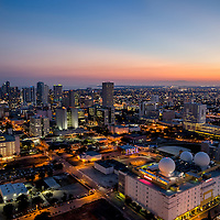 Downtown Miami looking west at twilight.