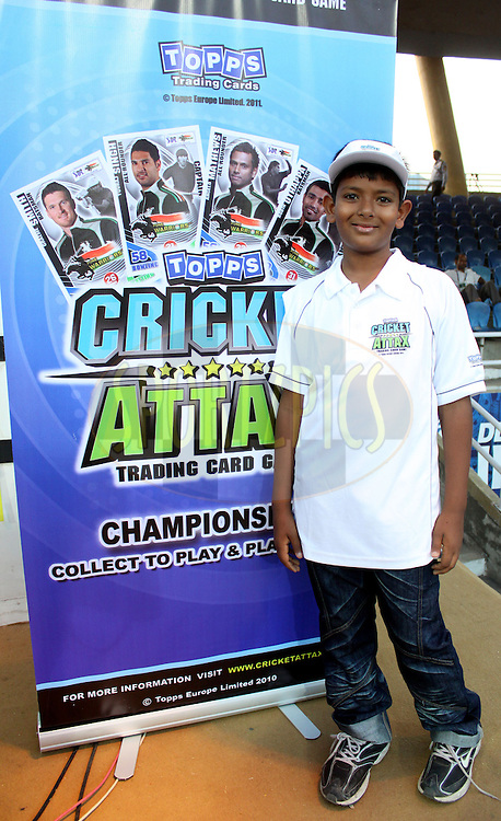 Topps Cricket Attax game Winner Harsh Verma   before match 65 of the Indian Premier League ( IPL ) Season 4 between the Pune Warriors and the Kolkata Knight Riders held at the Dr DY Patil Sports Academy, Mumbai India on the 19th May 2011..Photo by Sandeep Shetty/BCCI/SPORTZPICS..