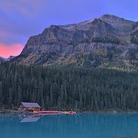 Boathouse on Lake Louise, Banff National Park,Alberta,Canada, UNESCO, World Heritage Site,