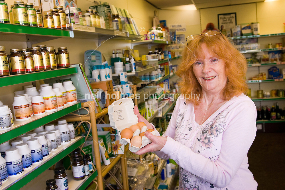 Alwyn Thurlow, who works in the Health Matters, health food shop in Willerby Square, pictured with the shops popular free range eggs.