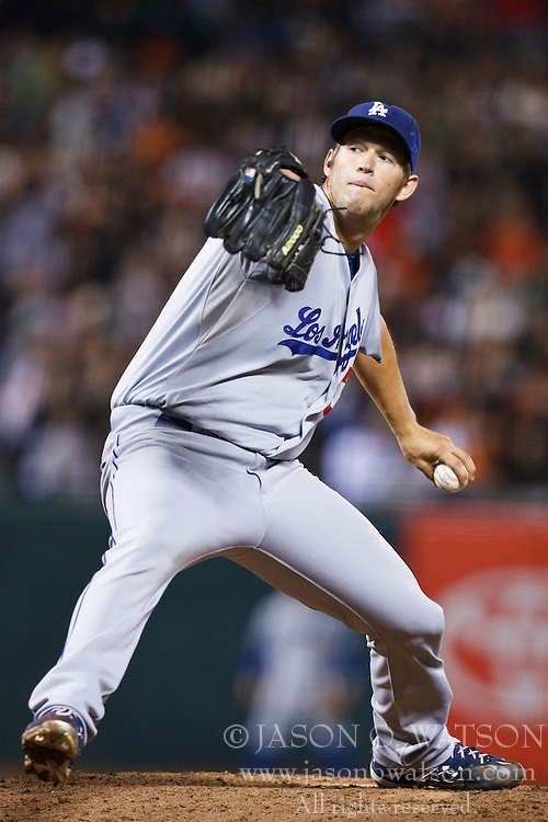 September 14, 2010; San Francisco, CA, USA;  Los Angeles Dodgers starting pitcher Clayton Kershaw (22) pitches against the San Francisco Giants during the sixth inning at AT&T Park. Los Angeles defeated San Francisco 1-0.