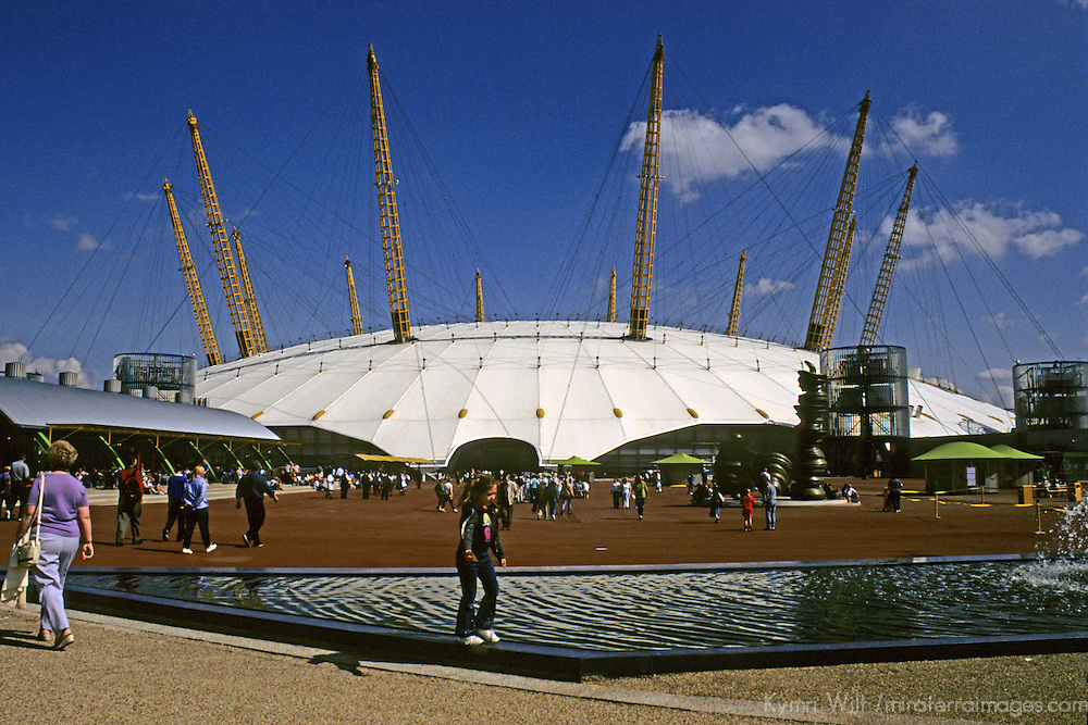 United Kingdom; Great Britain; England; London; Greenwich. The original Millenium Dome as it stood in the year 2000, which has since been demolished save for the canopy as part of the new O2 Entertainement complex.