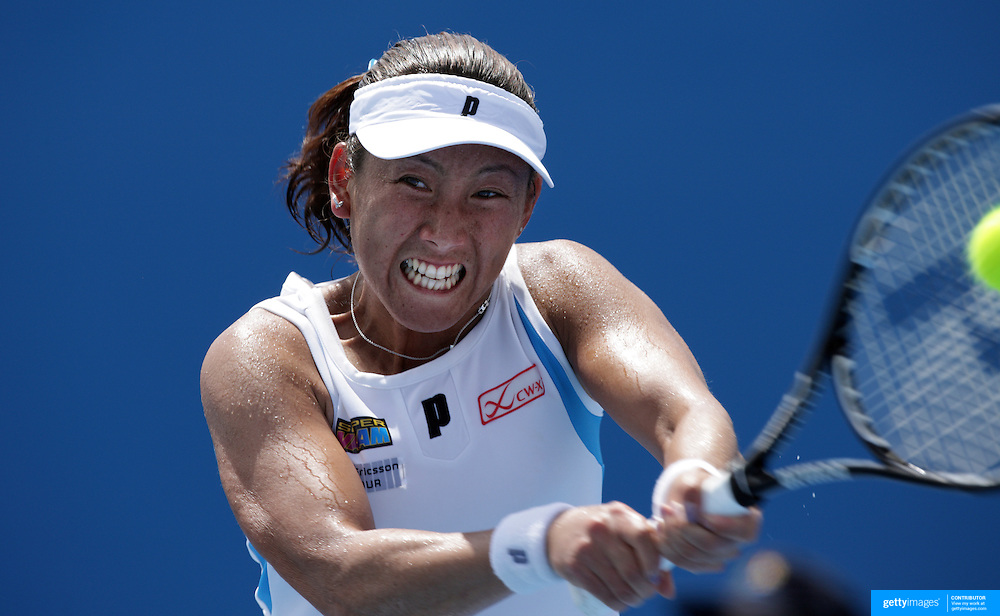 Ai Sugiyama of Japan on her way to victory over Jill Craybas of the USA in the first round of the Medibank International Sydney Tennis Tournament on January 12, 2009 in Sydney, Australia. Photo Tim Clayton
