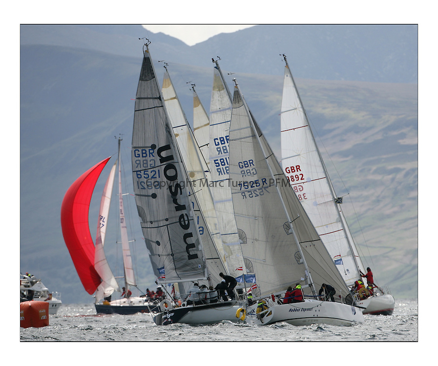 Sailing - The 2007 Bell Lawrie Scottish Series hosted by the Clyde Cruising Club, Tarbert, Loch Fyne..Brilliant first days conditions for racing across the three fleets..Class 4 rounding Windward mark, Merson Misjif GBR6521, Hobbes Express II GBR7525R and Lingo GBR4380..