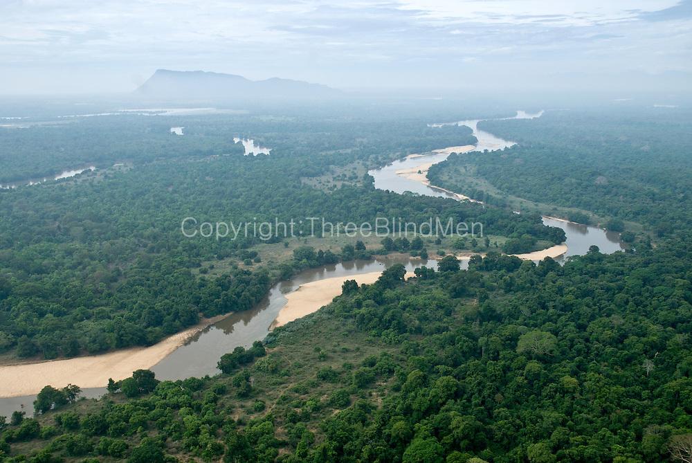 Aerial Images of Sri Lanka. Mahaweli river (fore ground) Dimbulagala in back ground (Gunner's Quoin).