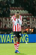 ROTTERDAM - Sparta Rotterdam - Vitesse , Voetbal , Halve Finale KNVB Beker , Seizoen 2016/2017 , Sparta stadion het Kasteel , 01-03-2017 ,  eindstand 1-2 , Sparta speler Denzel Dumfries is teleurgesteld