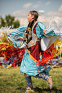Crow Fair Powwow, Junior Fancy Shawl dancer, Crow Indian Reservation, Montana