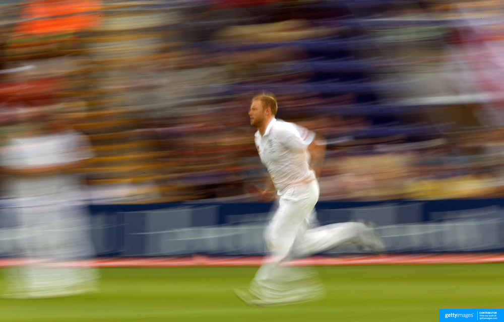 Andrew Flintoff bowling during the England V Australia  Ashes Test series at Cardiff, Wales, on Friday, July 10, 2009. Photo Tim Clayton.
